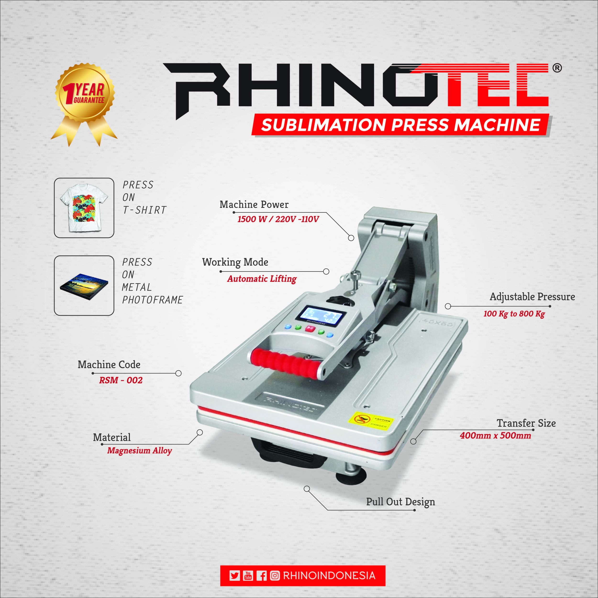 3 Jenis Mesin Press Sublime Terbaru Rhinotec