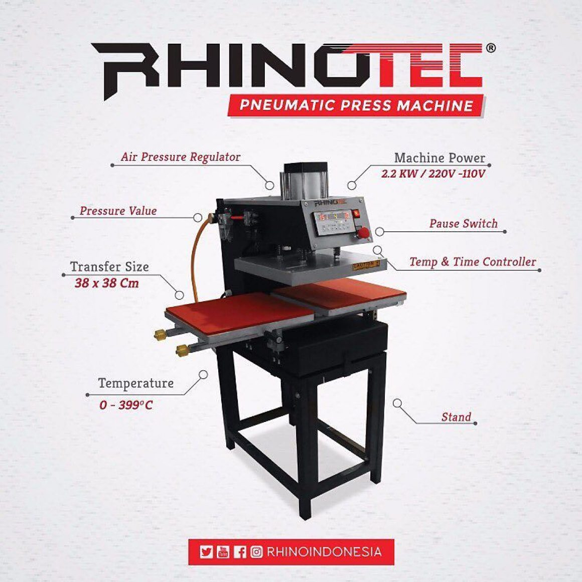 TERBARU : Mesin Press Pneumatic Rhinotec 2 Sisi