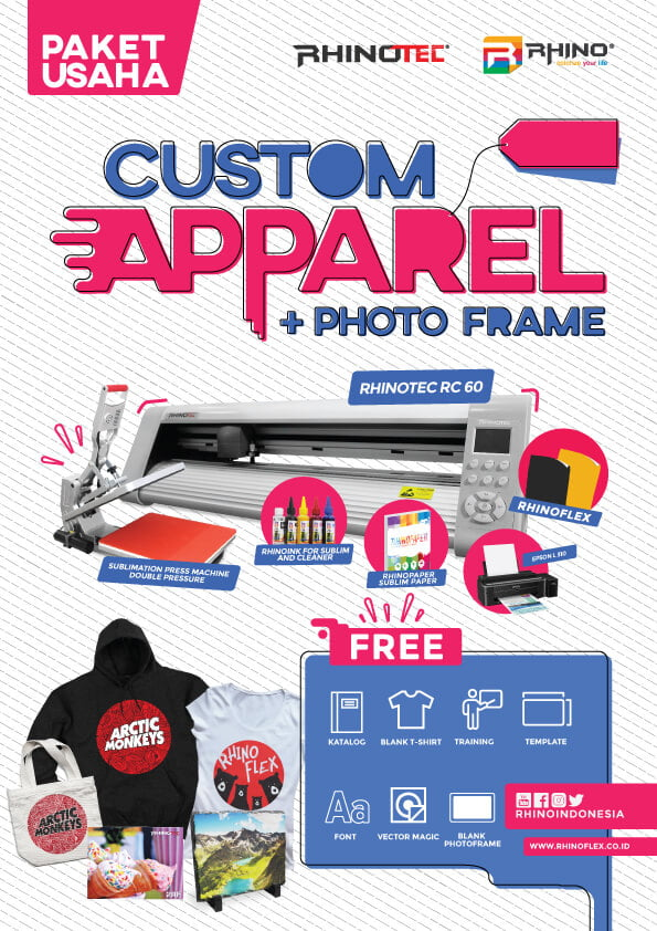 paket usaha sablon custom APPAREL plus PHOTO FRAME
