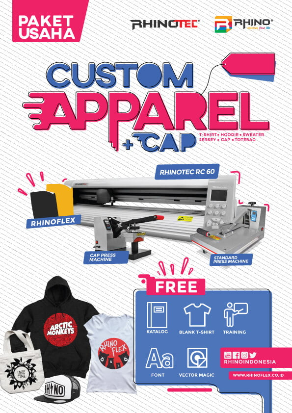 paket usaha sablon custom apparel-plus cap